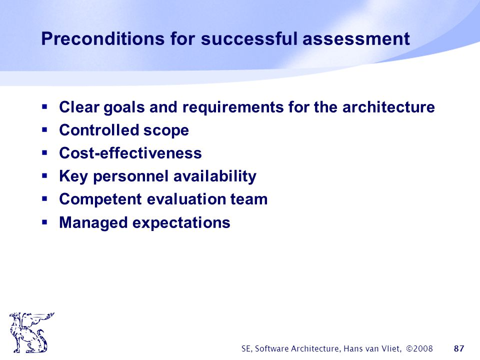 Preconditions for successful assessment