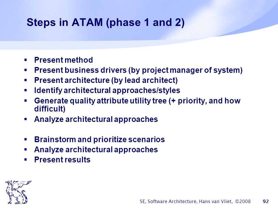 Steps in ATAM (phase 1 and 2)
