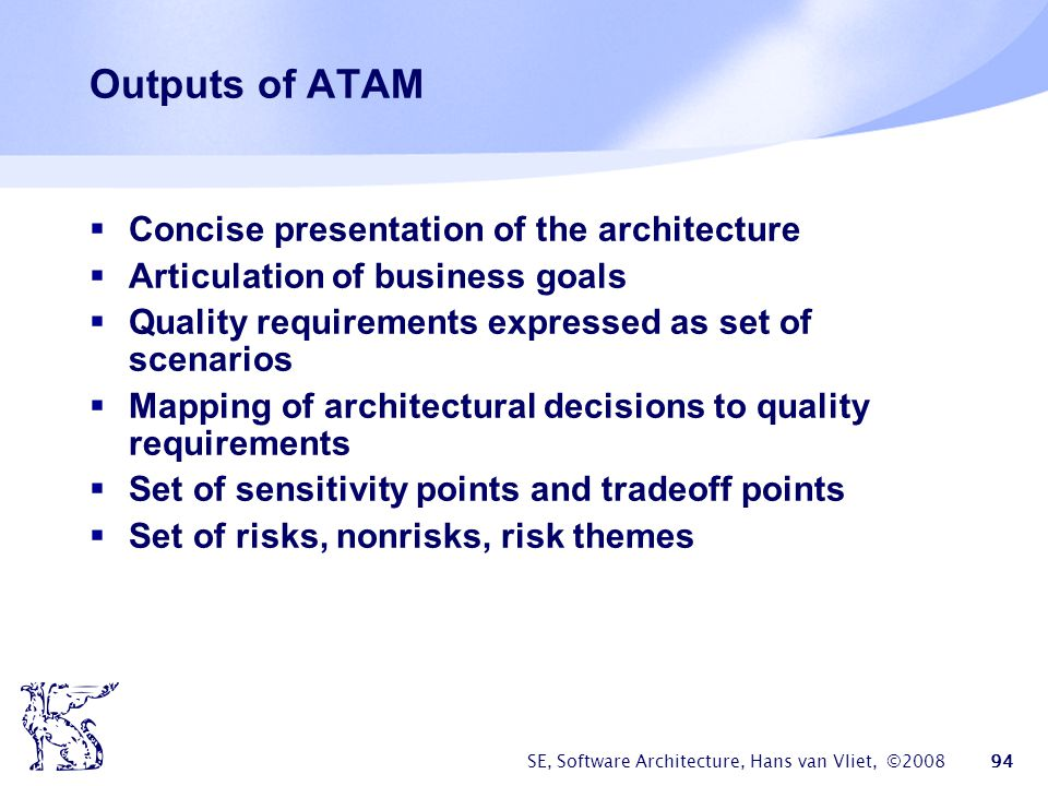 Outputs of ATAM Concise presentation of the architecture