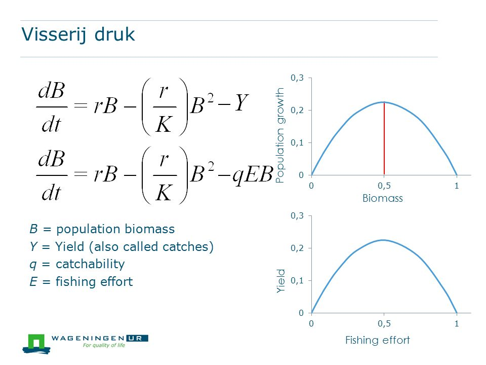 Visserij druk B = population biomass Y = Yield (also called catches)