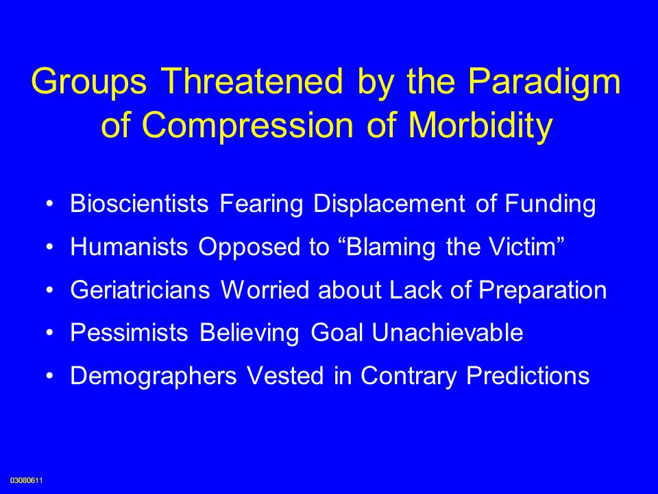Groups Threatened by the Paradigm of Compression of Morbidity