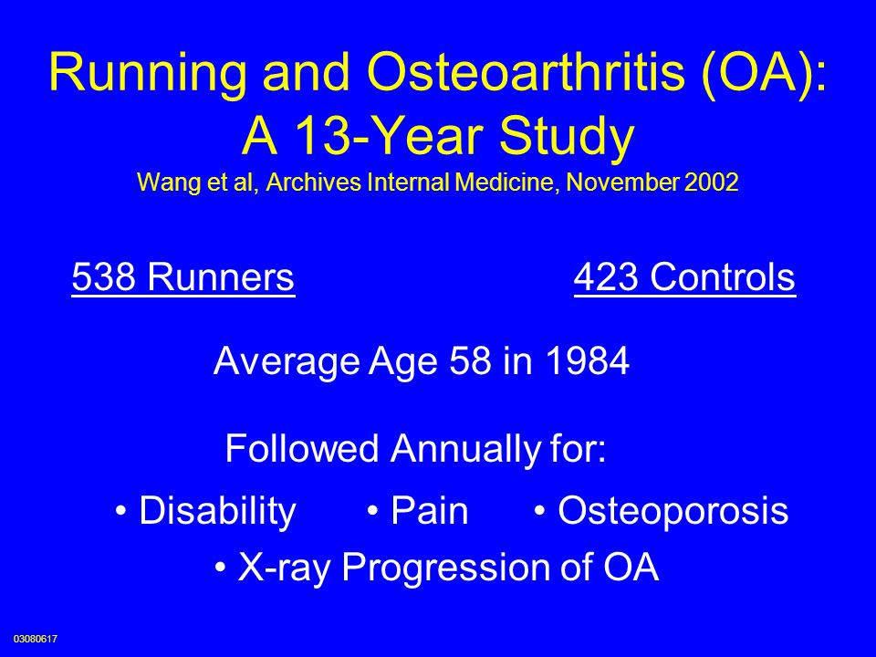 Running and Osteoarthritis (OA): A 13-Year Study Wang et al, Archives Internal Medicine, November 2002