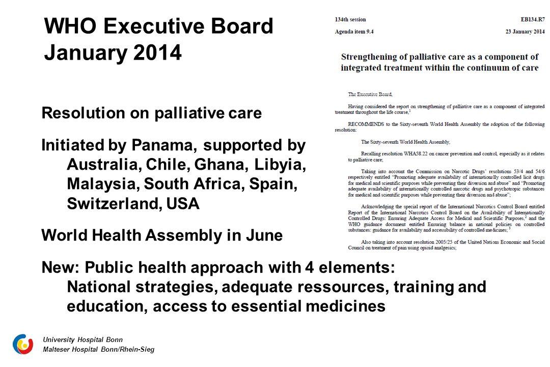 WHO Executive Board January 2014 Resolution on palliative care