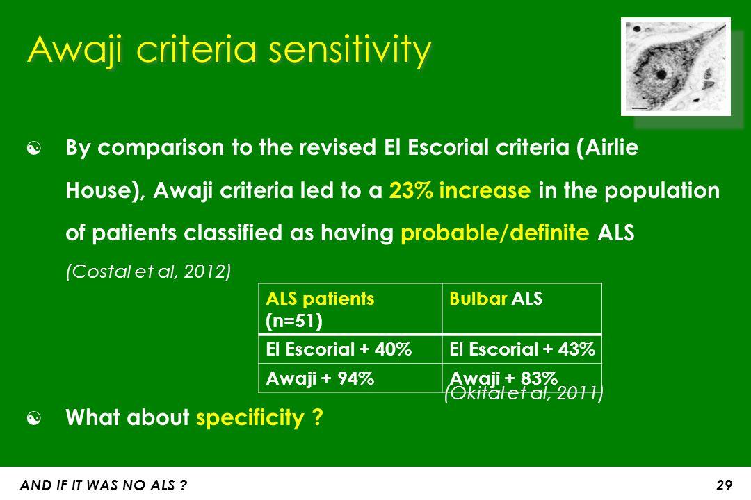 Awaji criteria sensitivity