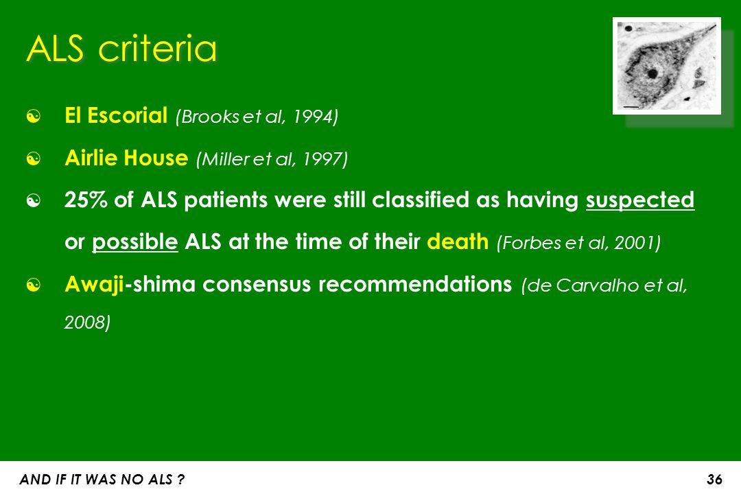ALS criteria El Escorial (Brooks et al, 1994)