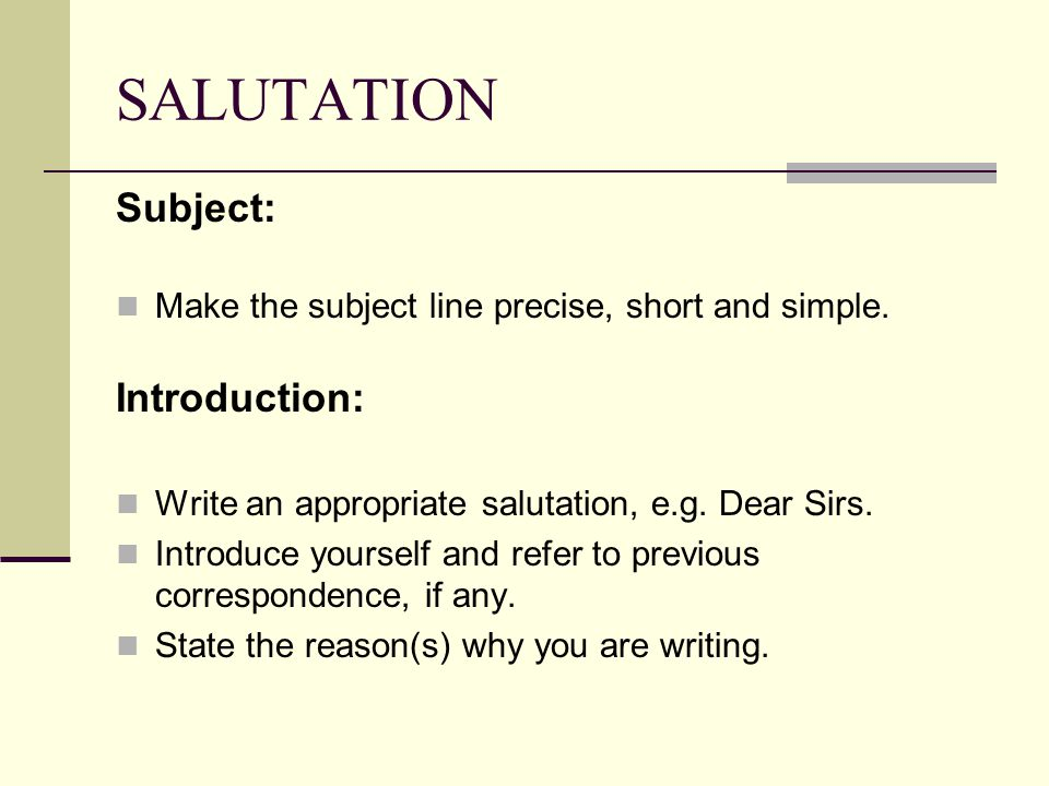 SALUTATION Subject: Introduction: