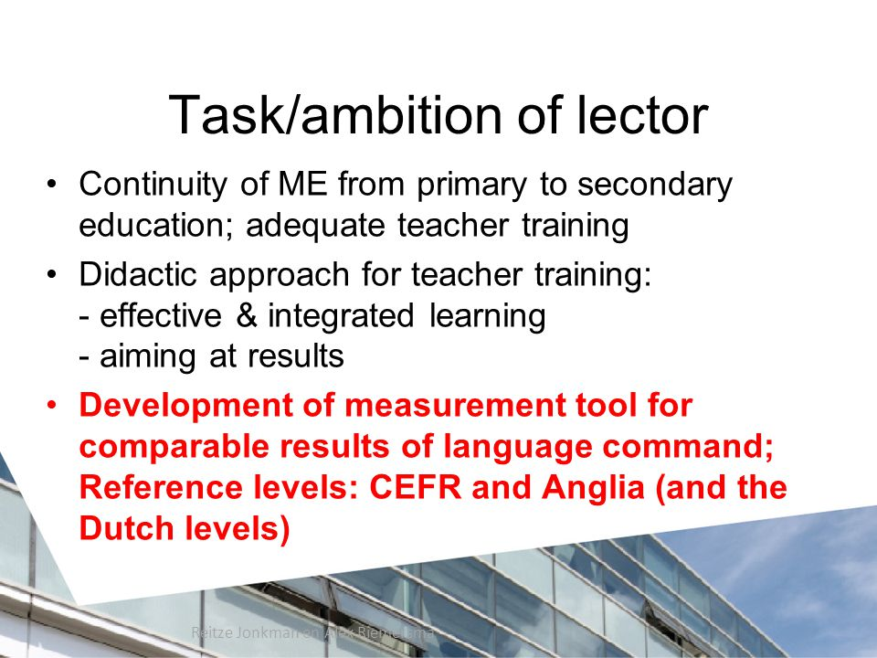 Task/ambition of lector