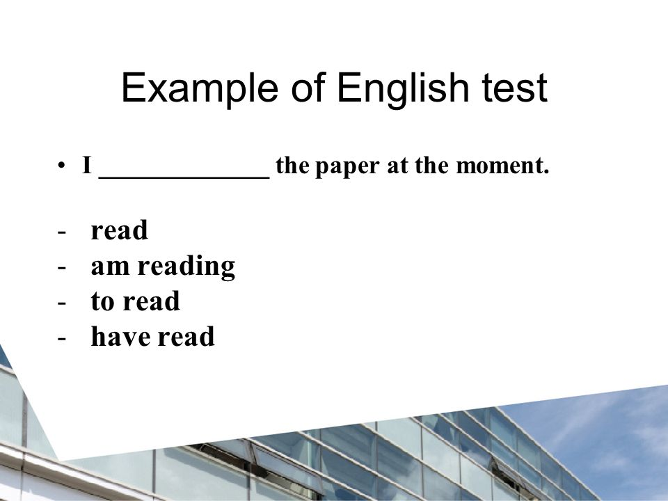 Example of English test