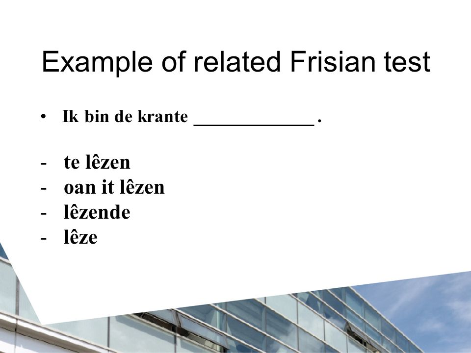 Example of related Frisian test