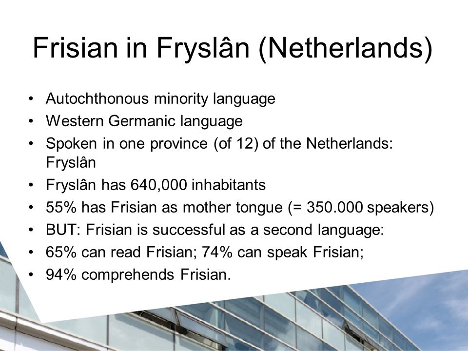 Frisian in Fryslân (Netherlands)