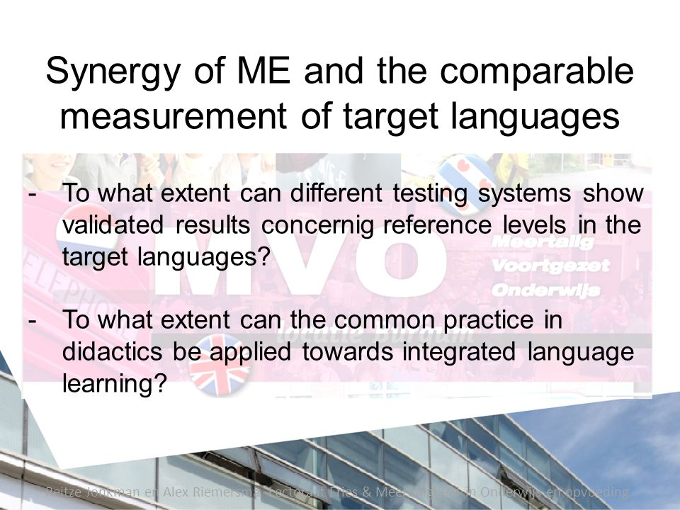 Synergy of ME and the comparable measurement of target languages