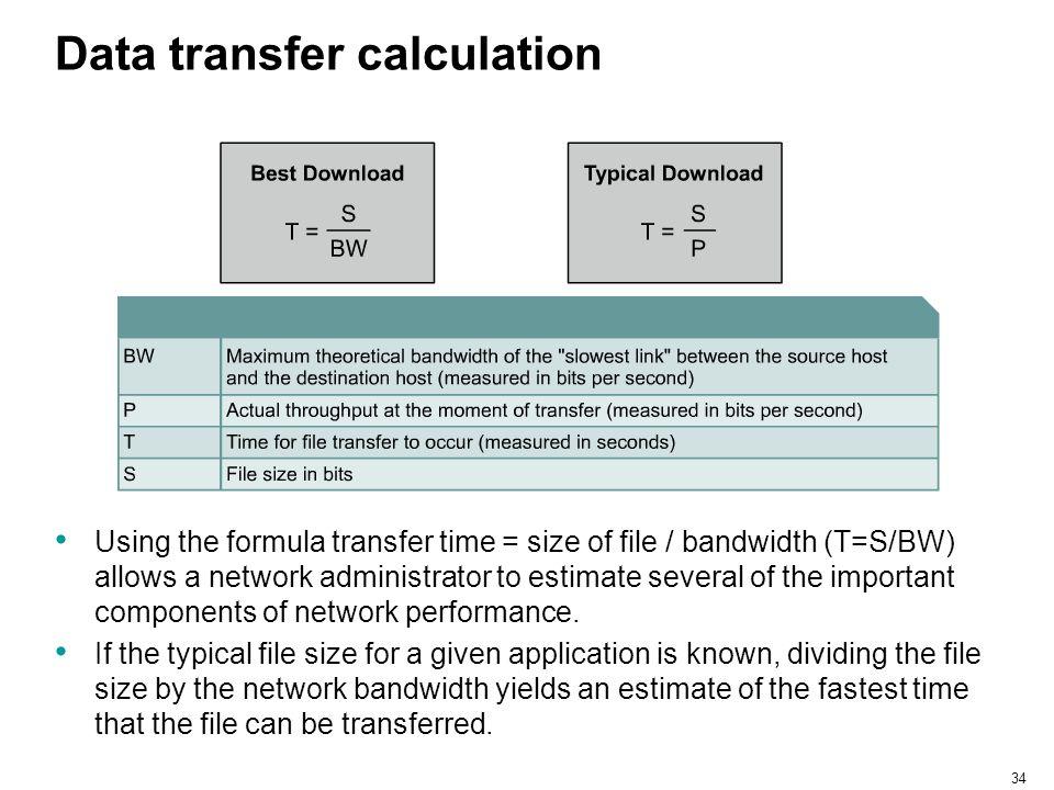 Data transfer calculation