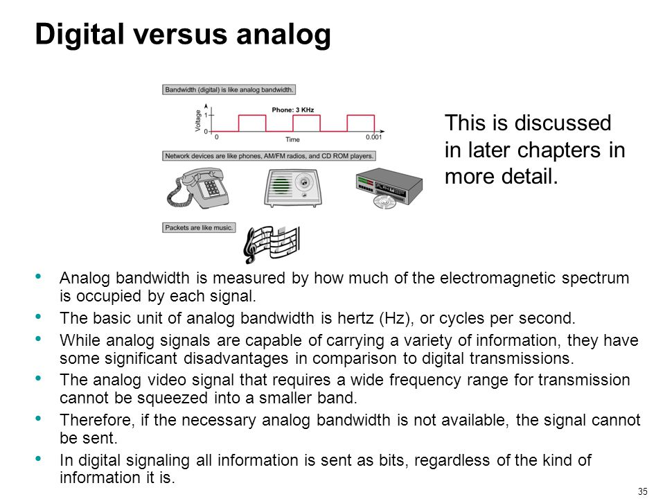 Digital versus analog This is discussed in later chapters in more detail.