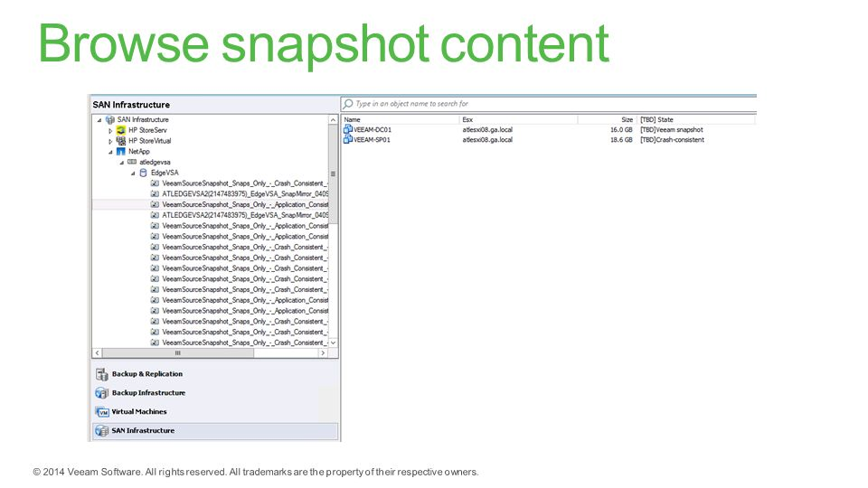Browse snapshot content