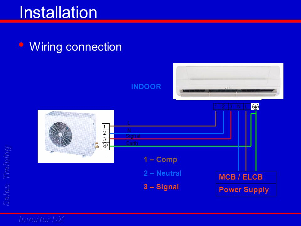 Installation Wiring connection INDOOR OUTDOOR 1 – Comp 2 – Neutral