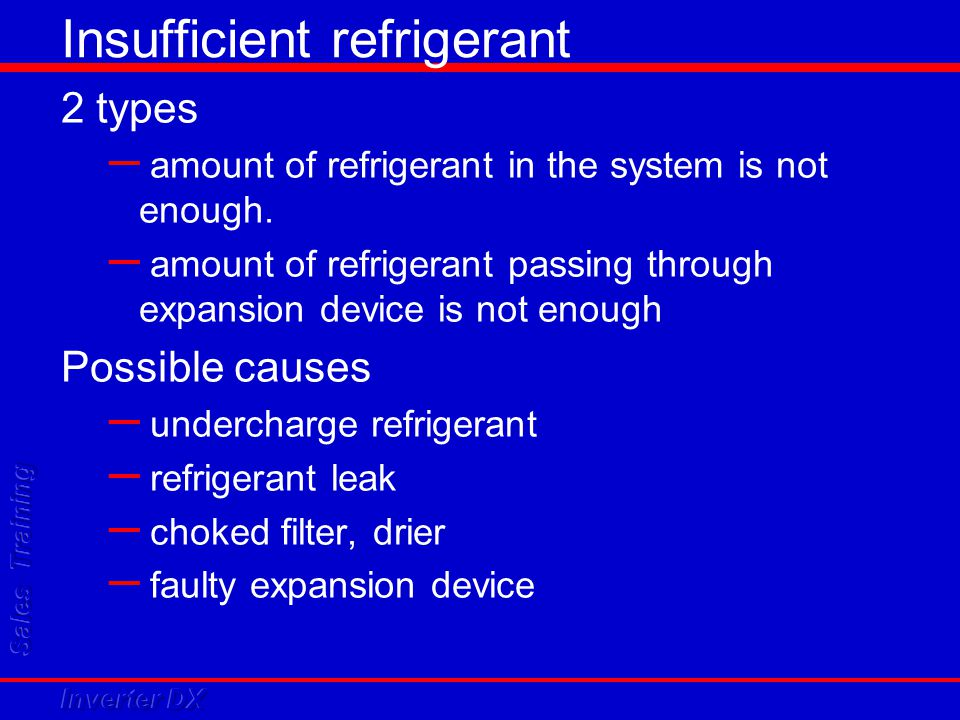 Insufficient refrigerant