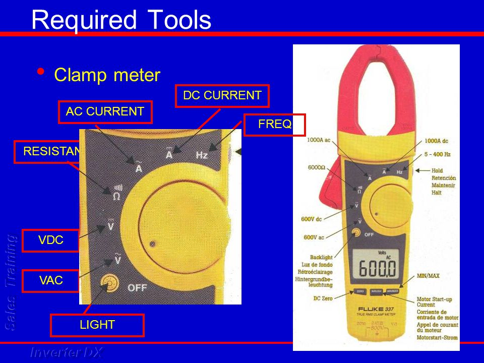 Required Tools Clamp meter DC CURRENT AC CURRENT FREQ RESISTANCE VDC