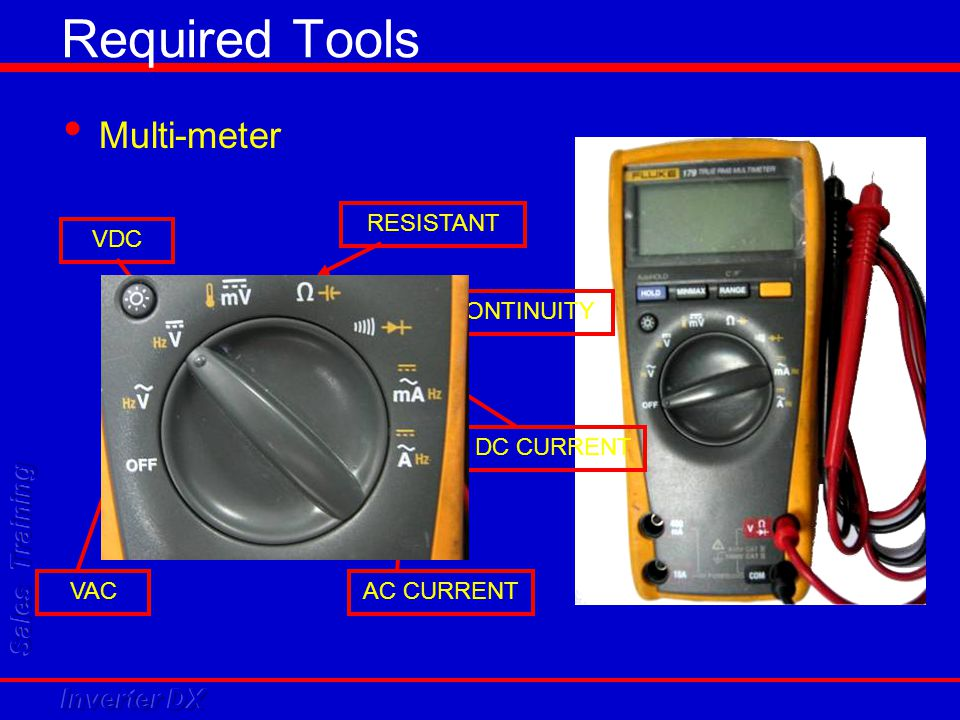 Required Tools Multi-meter RESISTANT VDC CONTINUITY DC CURRENT VAC