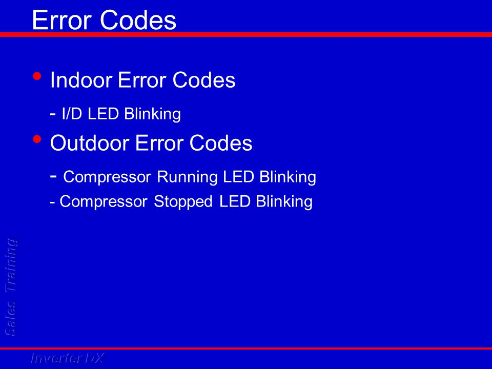 Error Codes Indoor Error Codes - I/D LED Blinking Outdoor Error Codes