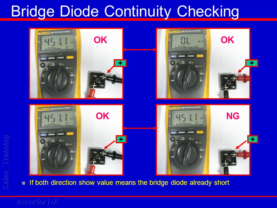 If both direction show value means the bridge diode already short