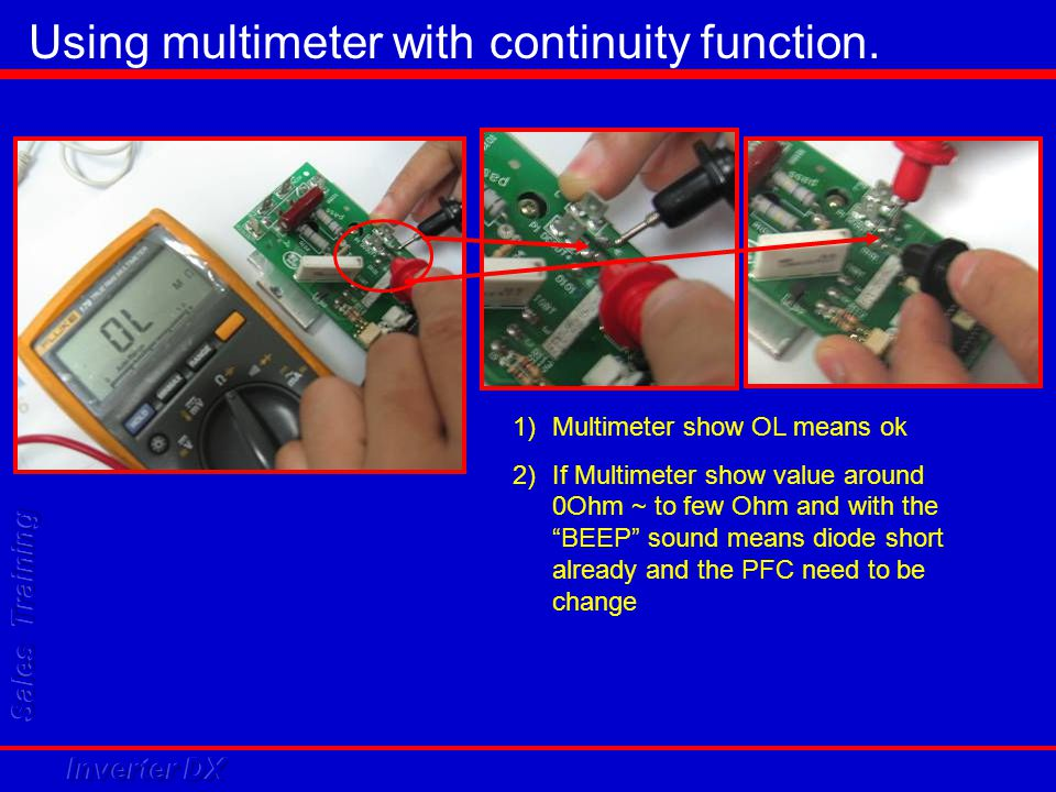 Using multimeter with continuity function.
