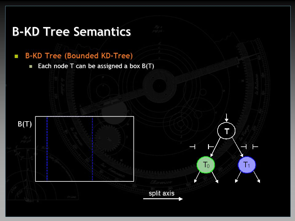 B-KD Tree Semantics B-KD Tree (Bounded KD-Tree) B(T)