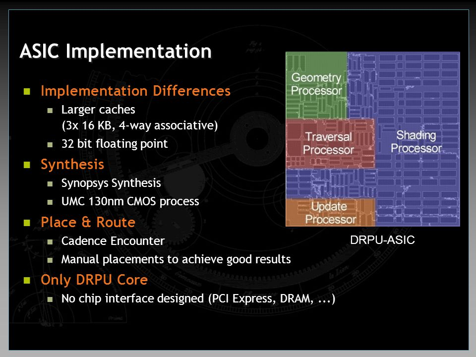 ASIC Implementation Implementation Differences Synthesis Place & Route