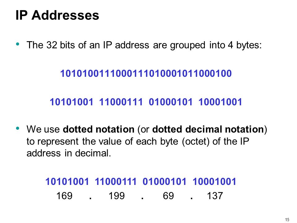 IP Addresses The 32 bits of an IP address are grouped into 4 bytes: