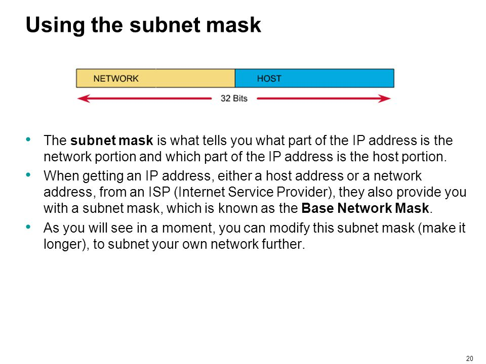 Using the subnet mask
