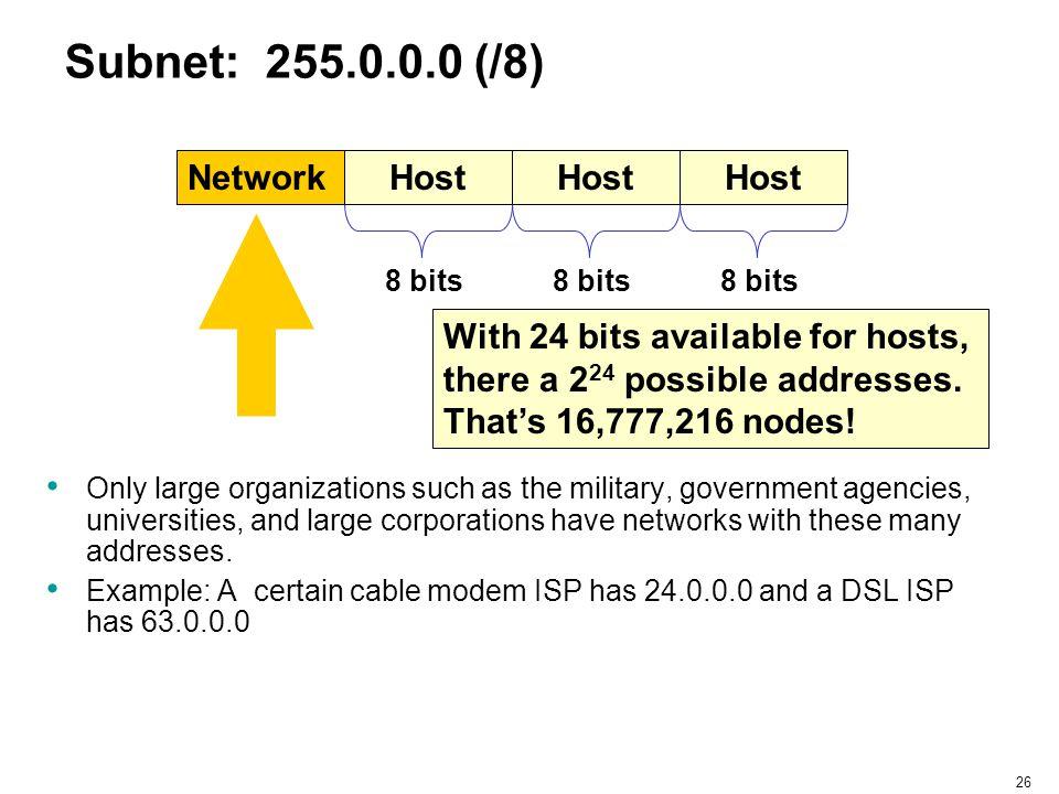 Subnet: 255.0.0.0 (/8) Network Host