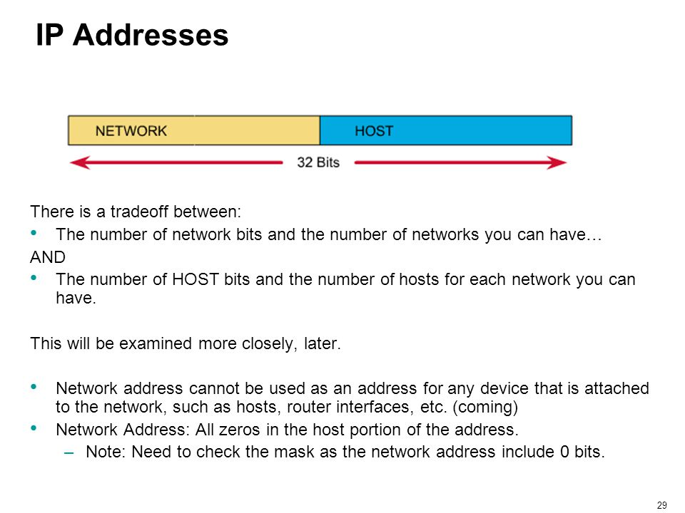 IP Addresses There is a tradeoff between: