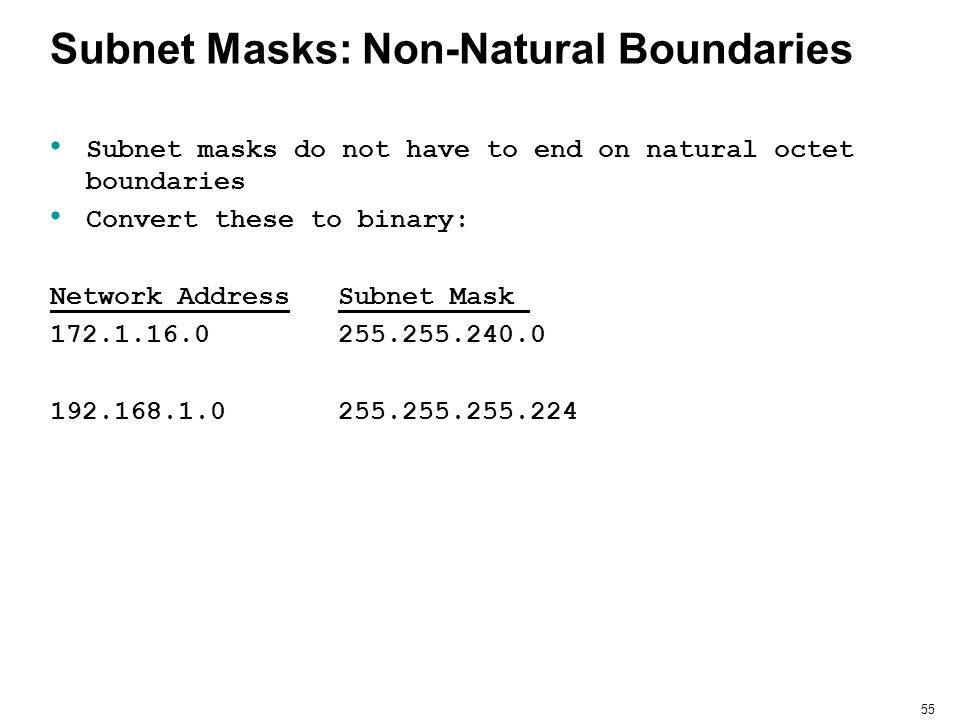 Subnet Masks: Non-Natural Boundaries