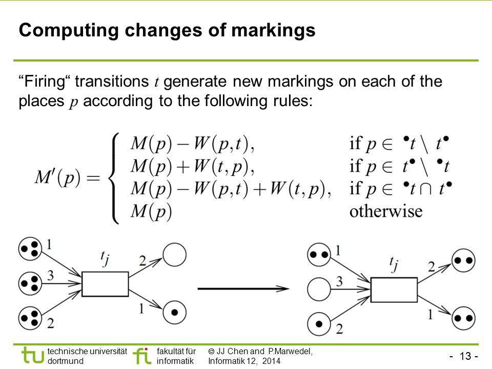 Computing changes of markings