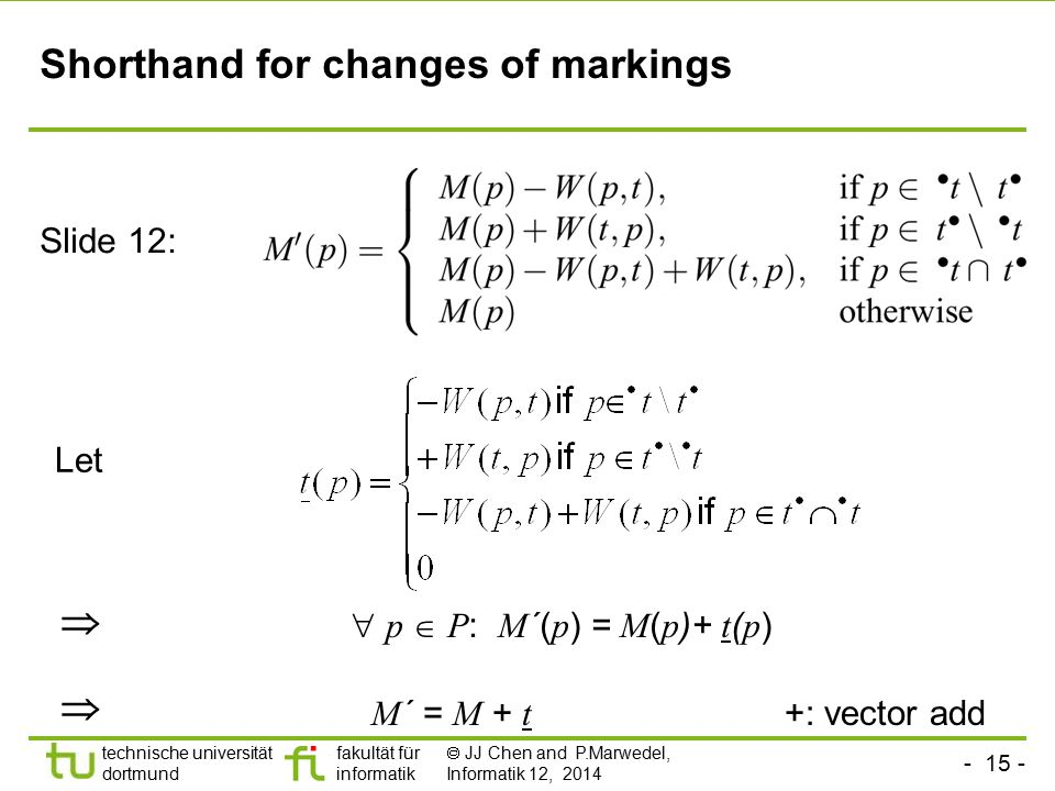 Shorthand for changes of markings