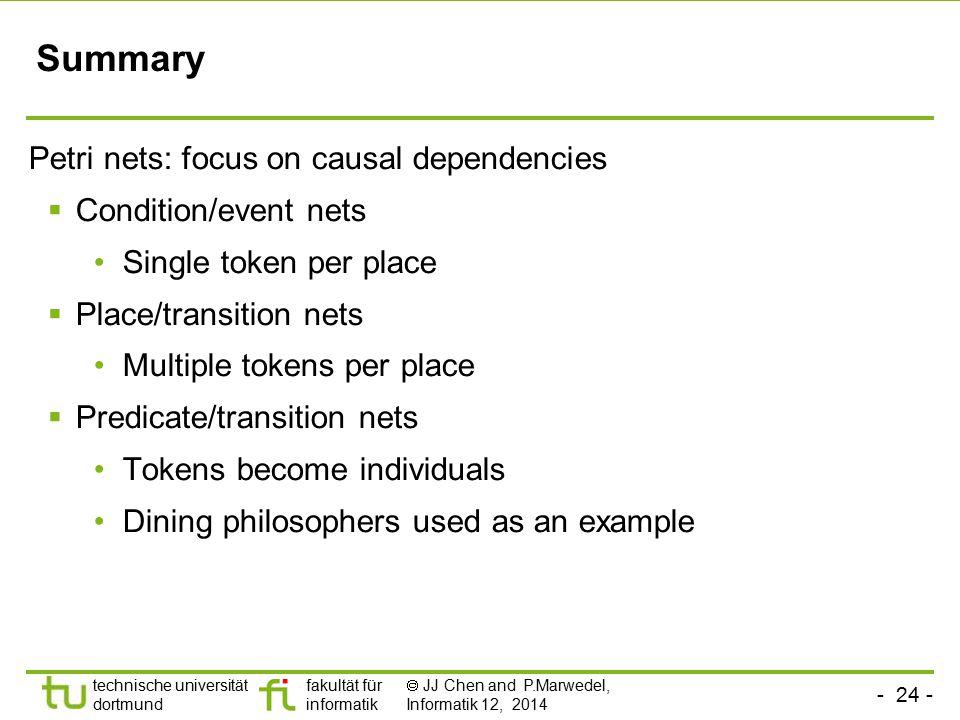 Summary Petri nets: focus on causal dependencies Condition/event nets