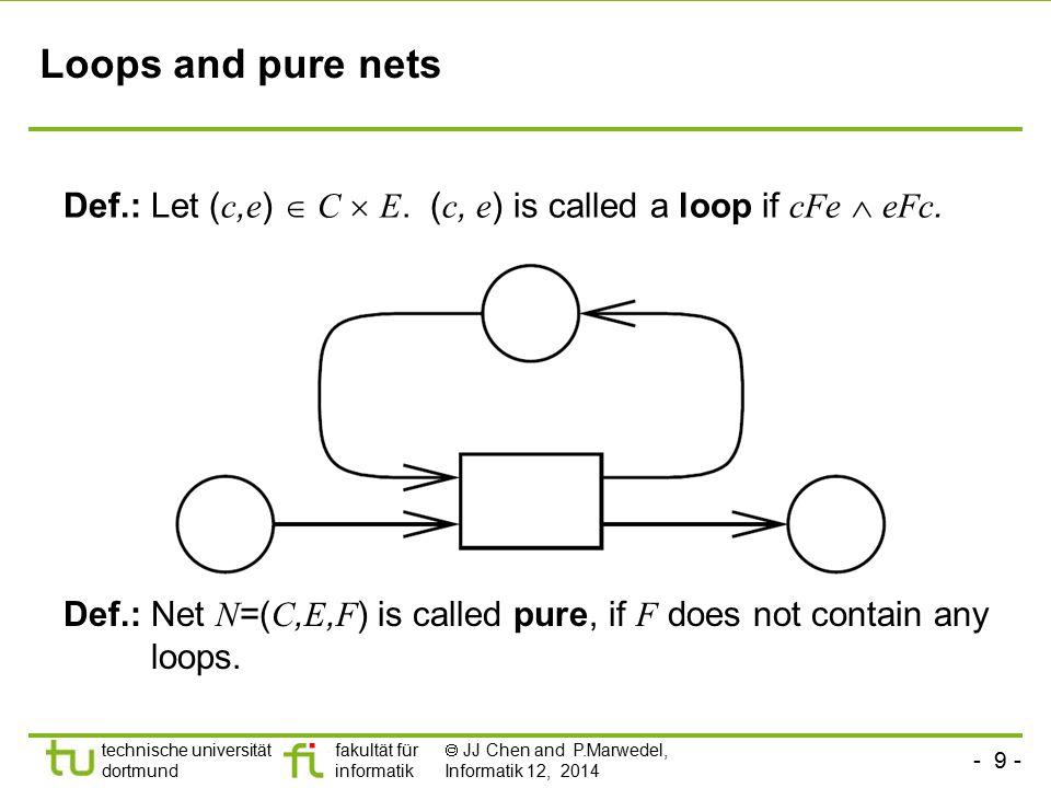 Loops and pure nets Def.: Let (c,e)  C  E. (c, e) is called a loop if cFe  eFc.