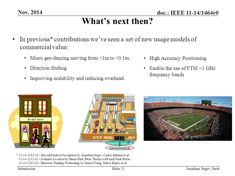 Nov. 2014 What's next then In previous* contributions we've seen a set of new usage models of commercial value: