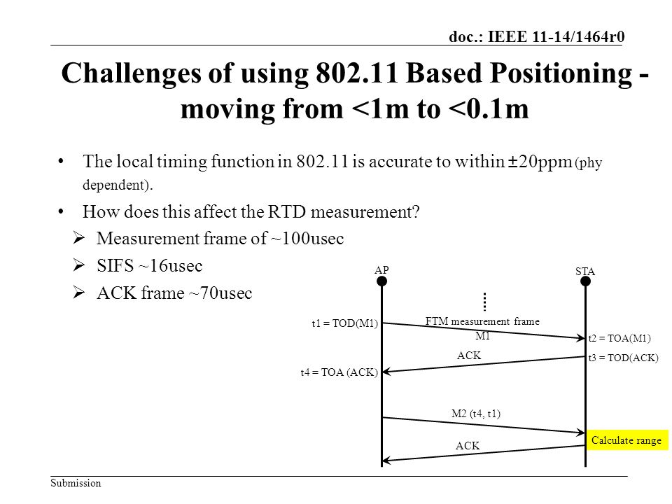 Challenges of using 802.11 Based Positioning - moving from <1m to <0.1m