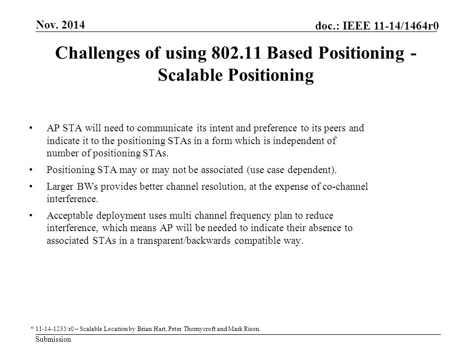 Challenges of using 802.11 Based Positioning -Scalable Positioning