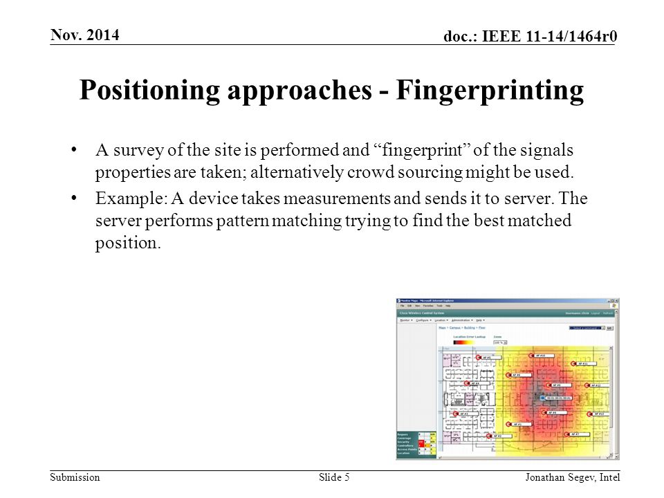 Positioning approaches - Fingerprinting