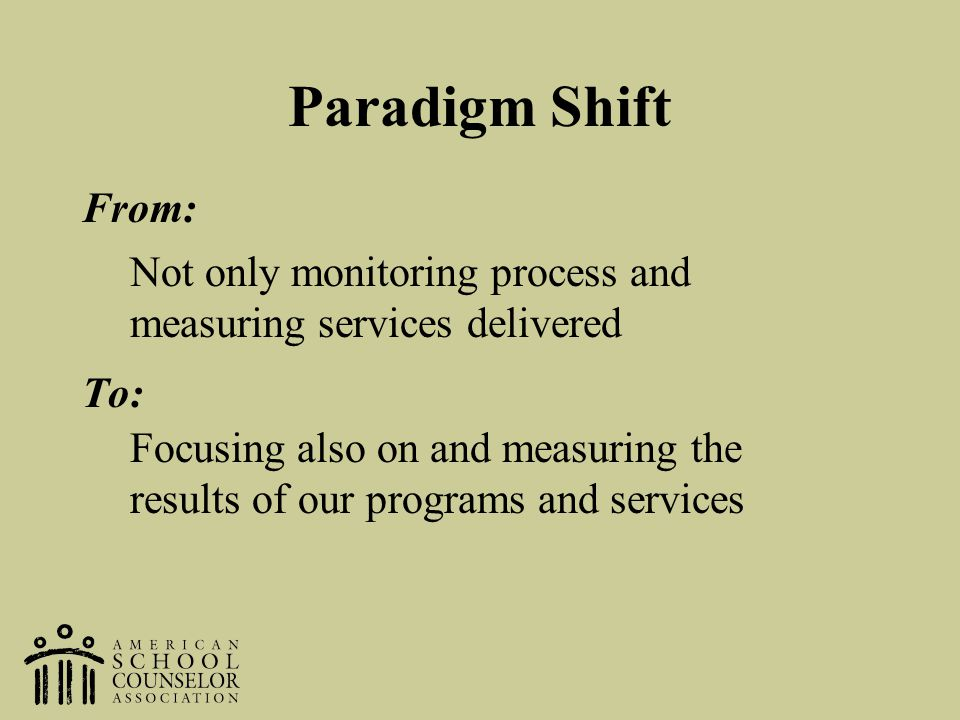 Paradigm Shift From: To: Not only monitoring process and measuring services delivered.