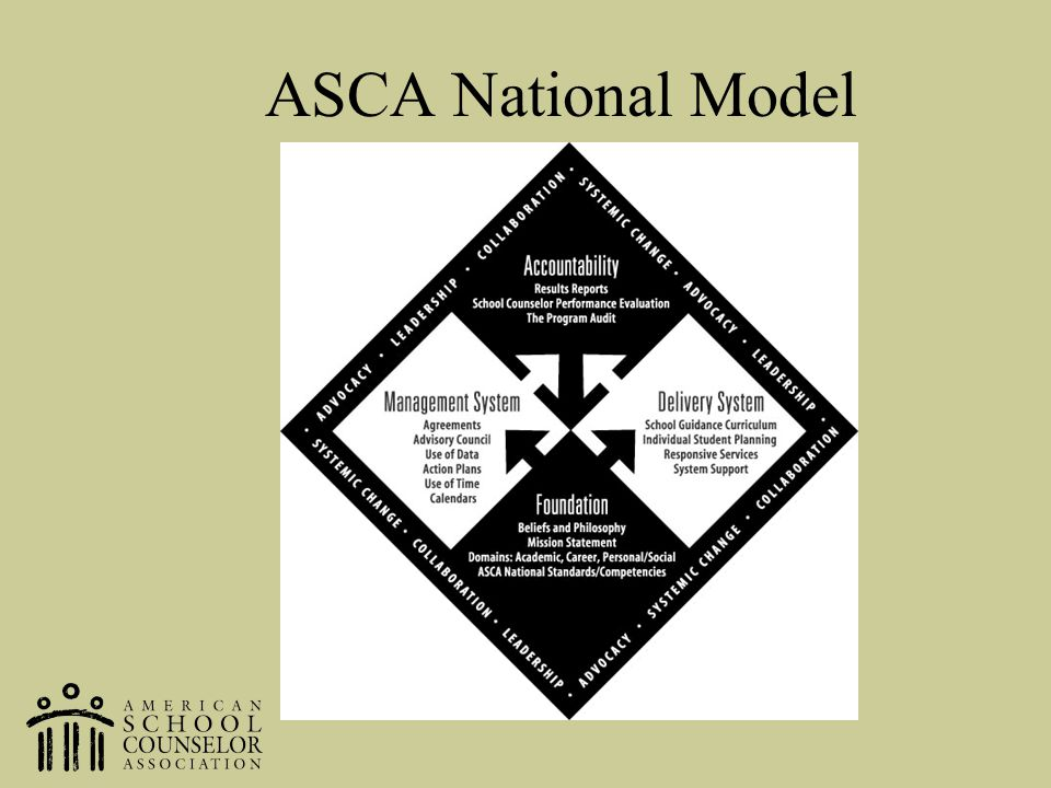 ASCA National Model SO this leads up to the ASCA National Model