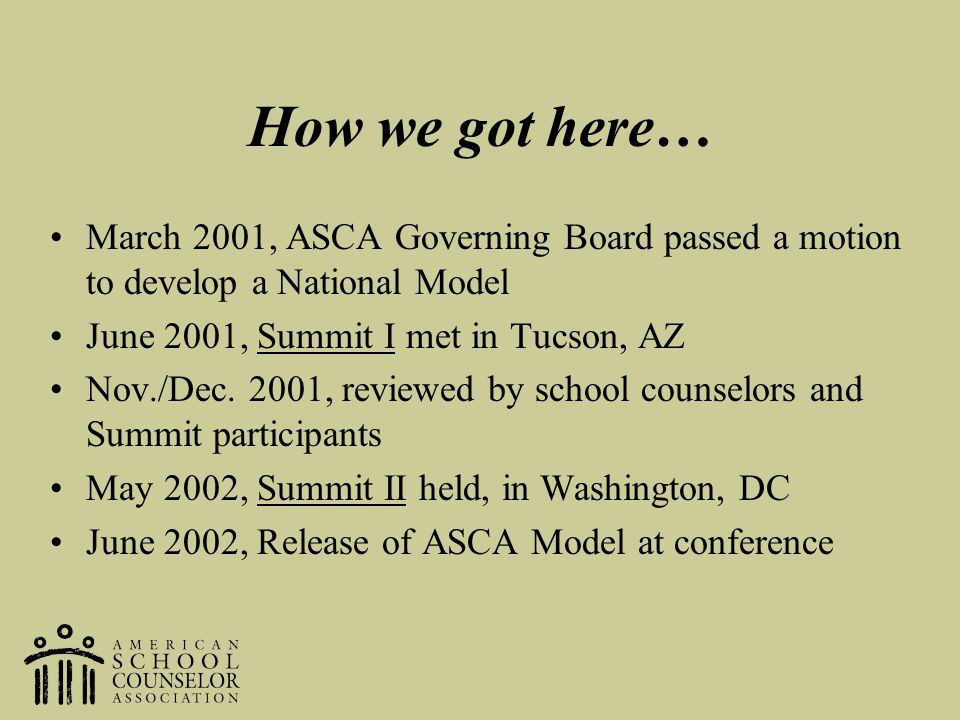 How we got here… March 2001, ASCA Governing Board passed a motion to develop a National Model. June 2001, Summit I met in Tucson, AZ.