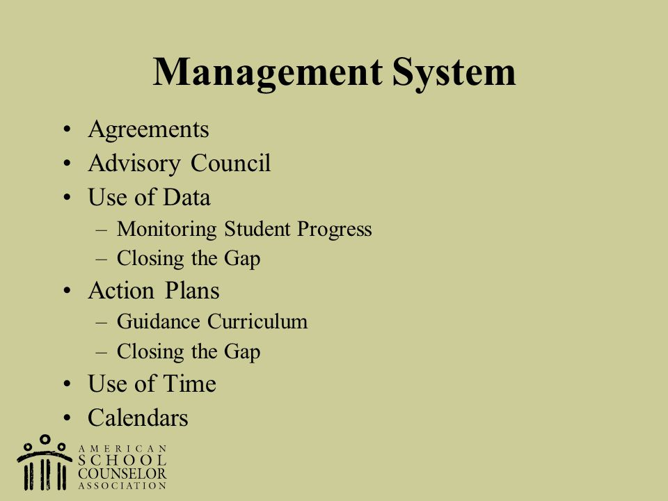 Management System Agreements Advisory Council Use of Data Action Plans