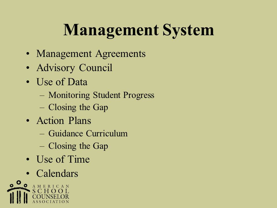 Management System Management Agreements Advisory Council Use of Data