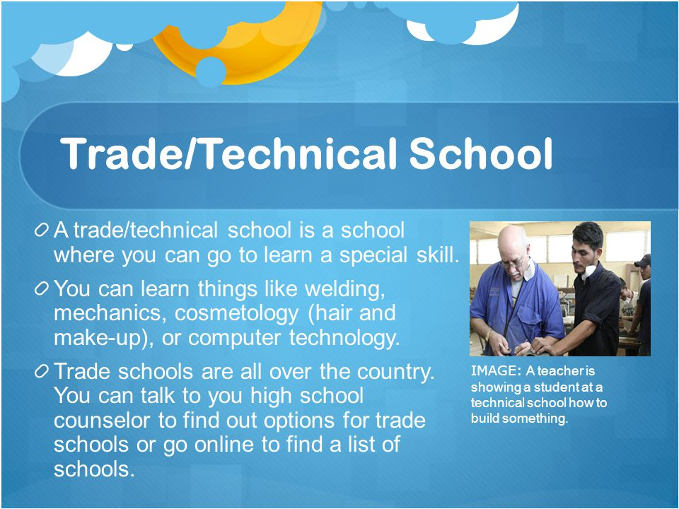 List of trade school options