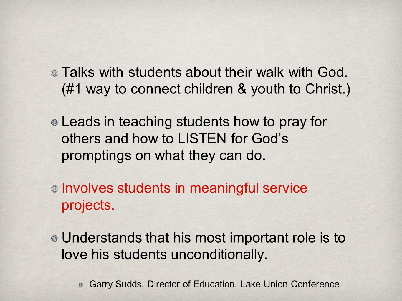Involves students in meaningful service projects.