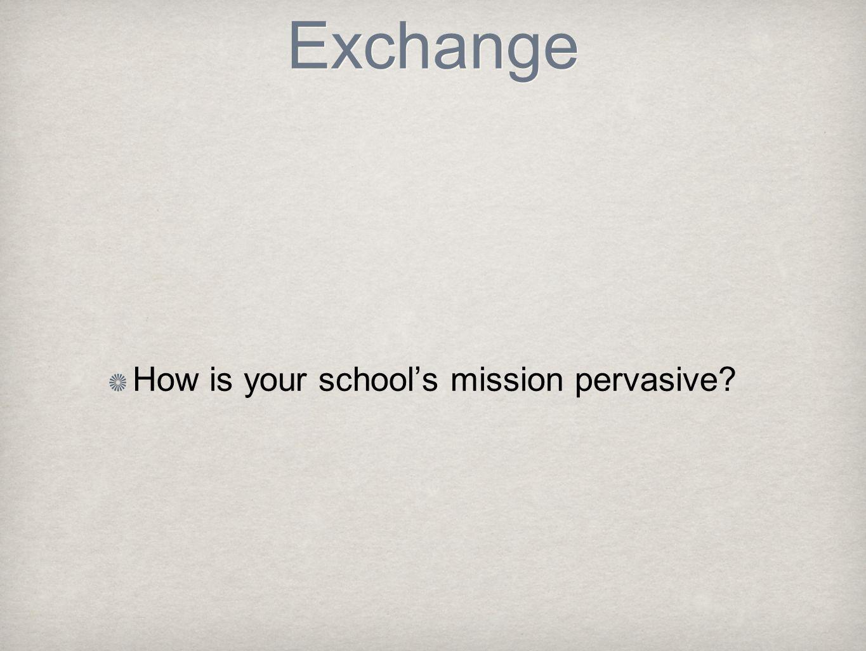 Exchange How is your school's mission pervasive
