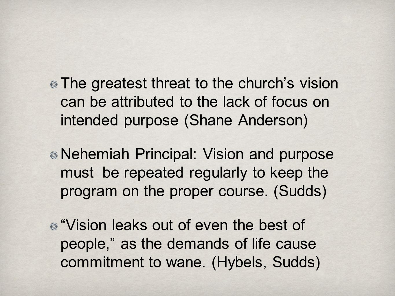 The greatest threat to the church's vision can be attributed to the lack of focus on intended purpose (Shane Anderson)