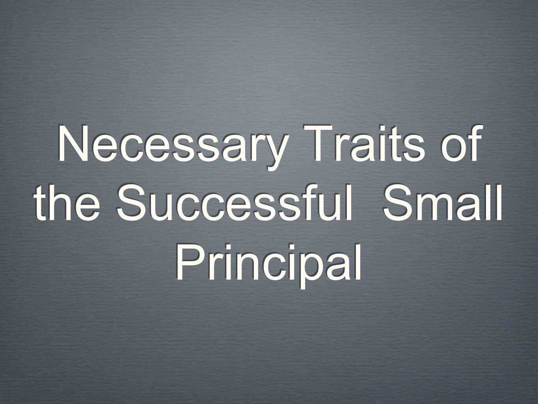 Necessary Traits of the Successful Small Principal